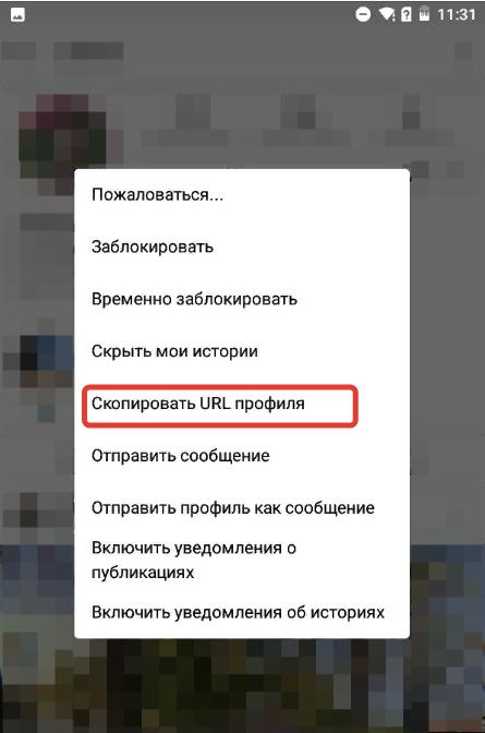 пример как скопировать ссылку в инстаграме на свой профиль на телефоне