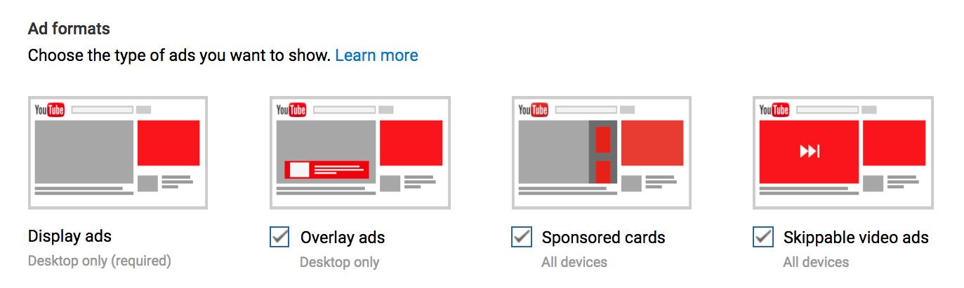 какая реклама в ютубе бывает