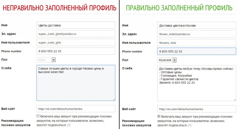 пример правильно заполненного профиля в инстаграм