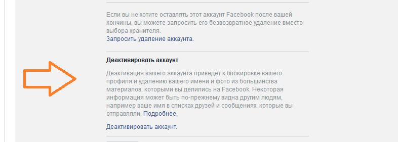 как деактивировать аккаунт в фейсбуке