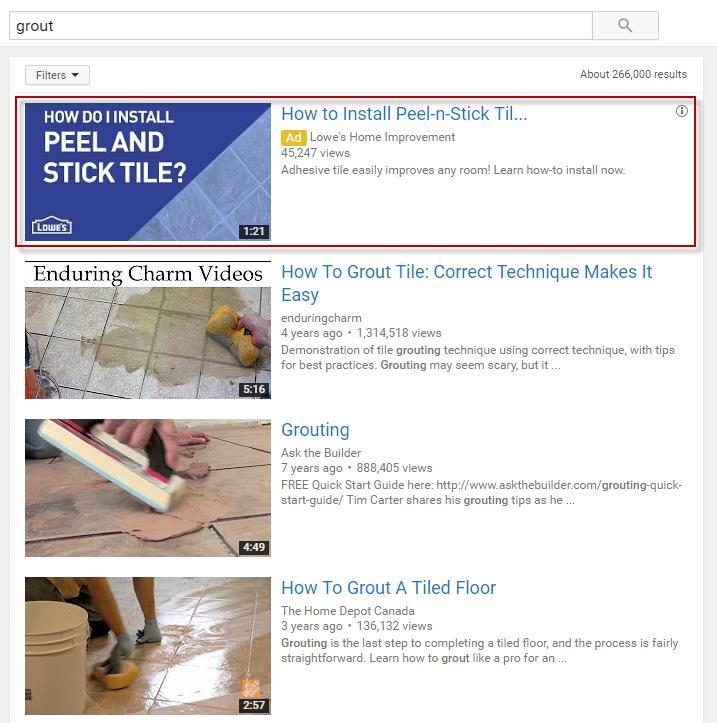 реклама видео в поисковой выдаче ютуба