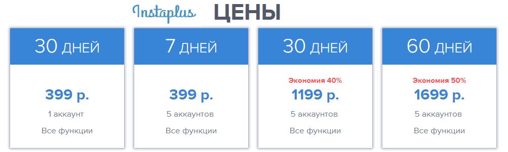 цены на раскрутку в сервисе instaplus