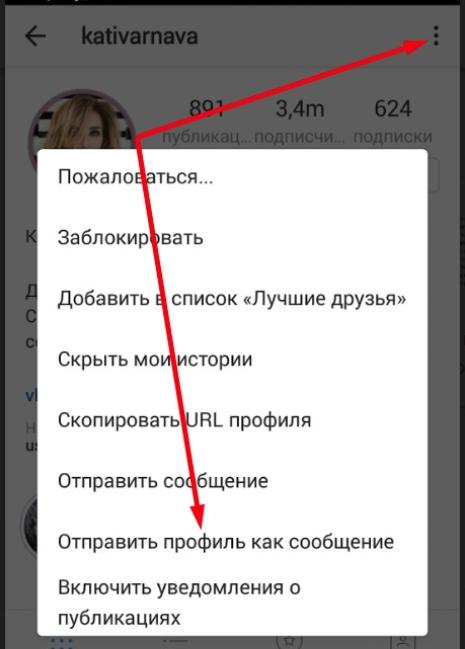 как отправить профиль в инстаграм директе